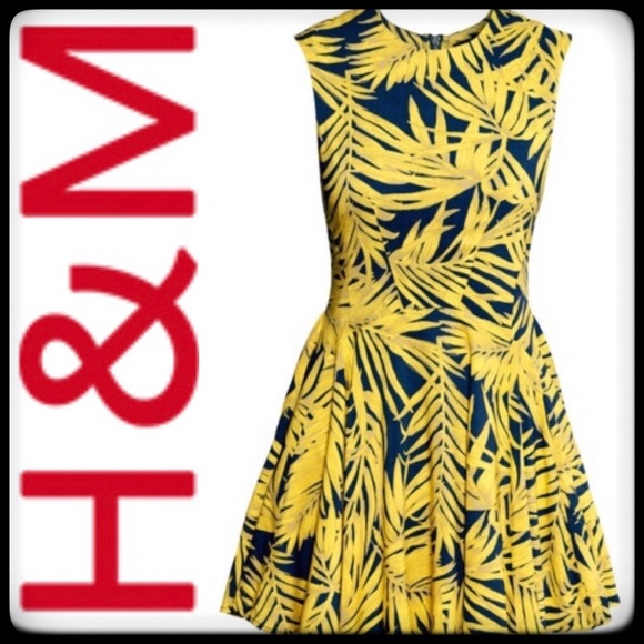 44f12093093a H&M Dresses | Clearance Hm Navy And Yellow Palm Tree Dress | Poshmark